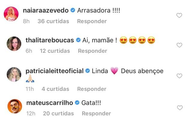 Comentários de famosos no post de Simone (Foto: Reprodução/Instagram)