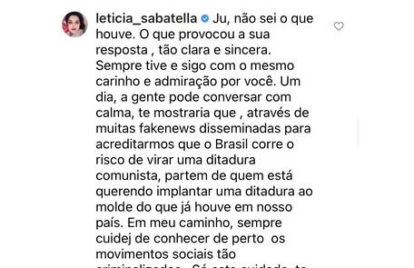 Leticia Sabatella escreveu um longo texto Reprodução