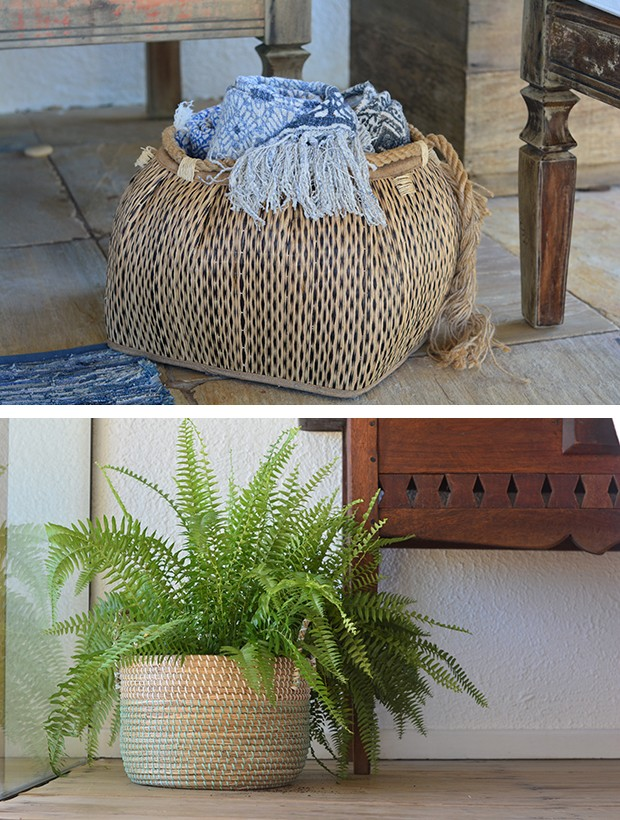 Cestos de fibra natural guardam mantas e viram cachepô para plantas  (Foto: Divulgação)