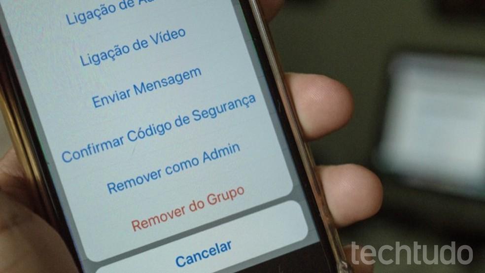 WhatsApp já permite remover administradores em grupos facilmente (Foto: Marvin Costa/TechTudo)