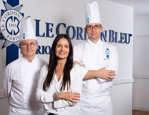 Sofia Mesquita, CEO da Le Cordon Bleu, entre os head chefs da escola, Philippe Brye e João Paulo Frankenfeld  (Foto: Divulgação)