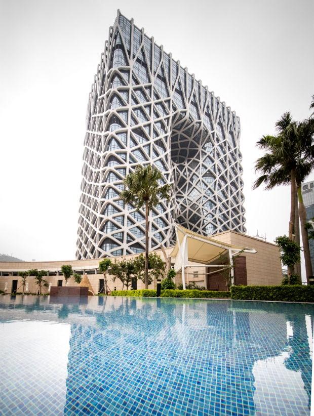Hotel com exoesqueleto dispensa paredes internas (Foto: Divulgação / Ivan Dupont / Zaha Architects)