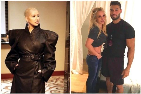 Christina Aguilera, Britney Spears e Sam Ashgari  (Foto: Instagram)