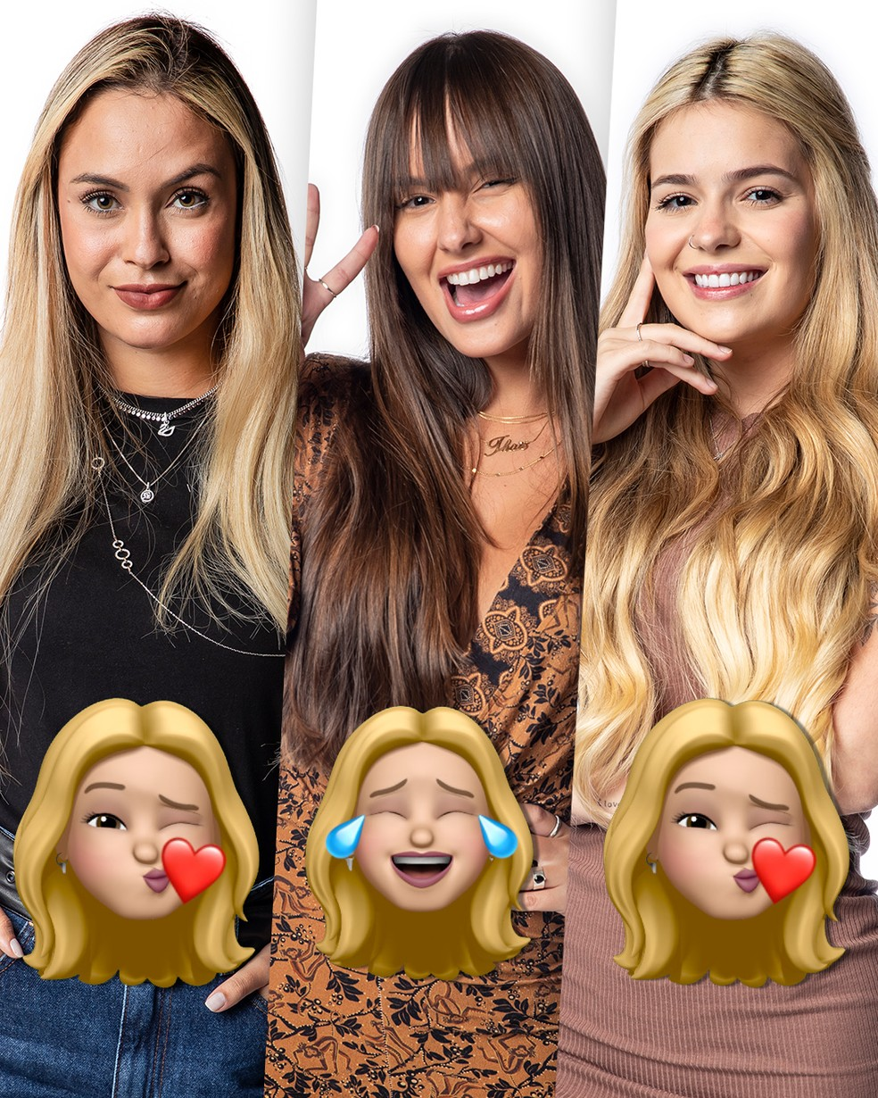 Sarah, Thaís e Viih Tube recebem emojis de Kerline — Foto: Globo