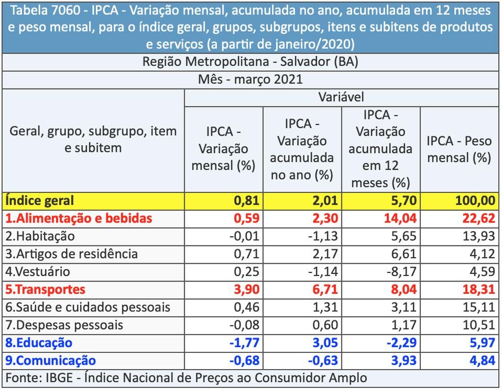 Variação, por grupo, registrada na RMS — Foto: Divulgação/IBGE