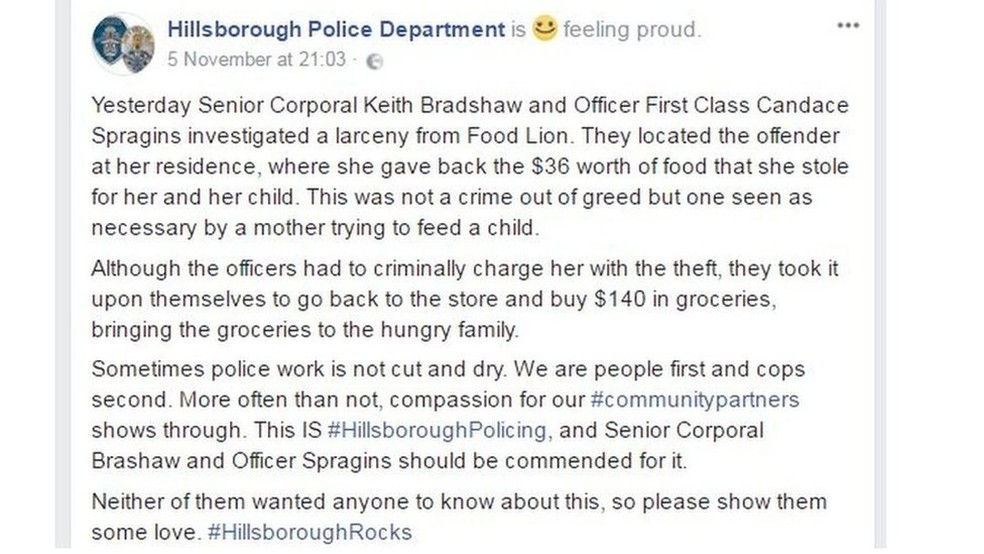 O Departamento de Polícia de Hillsborough publicou um relato da história no Facebook (Foto: Departamento de Polícia de Hillsborough)