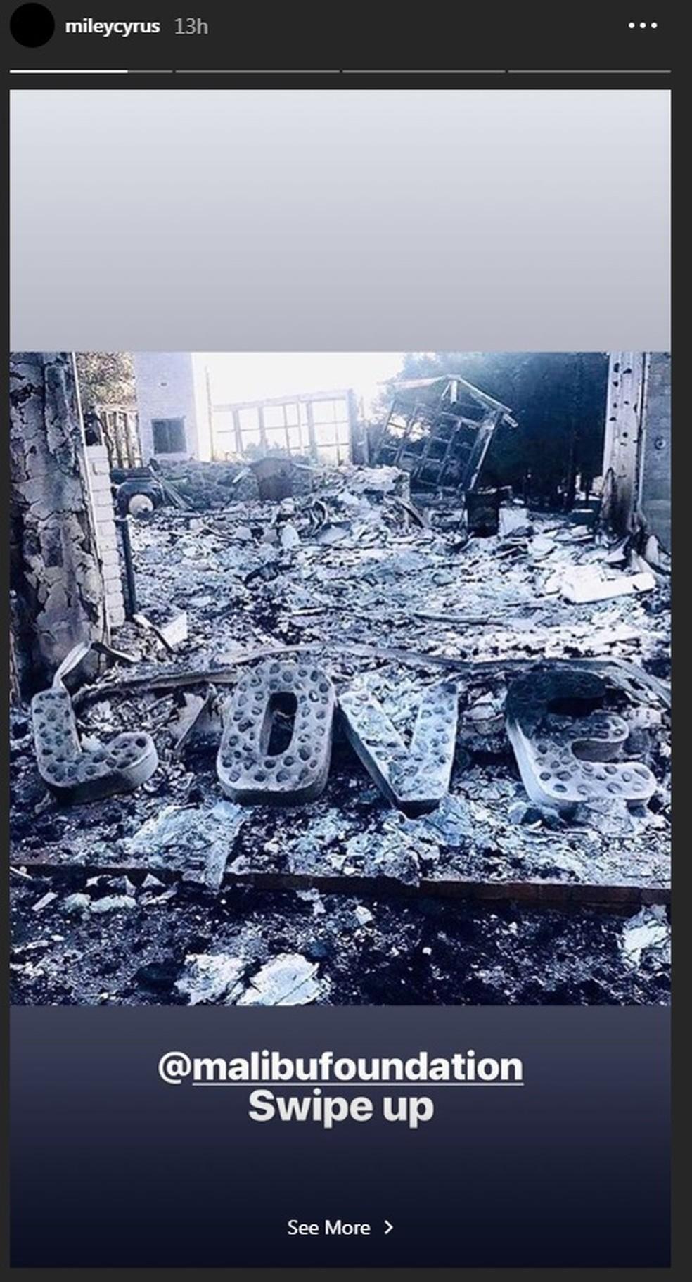 Miley Cyrus teve casa destruída em incêndio na Califórnia  — Foto: Reprodução/Instagram