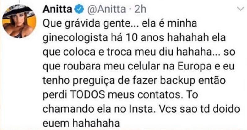 Anitta esclarece epeculação de fãs sobre gravidez (Foto: Reprodução/Instagram)