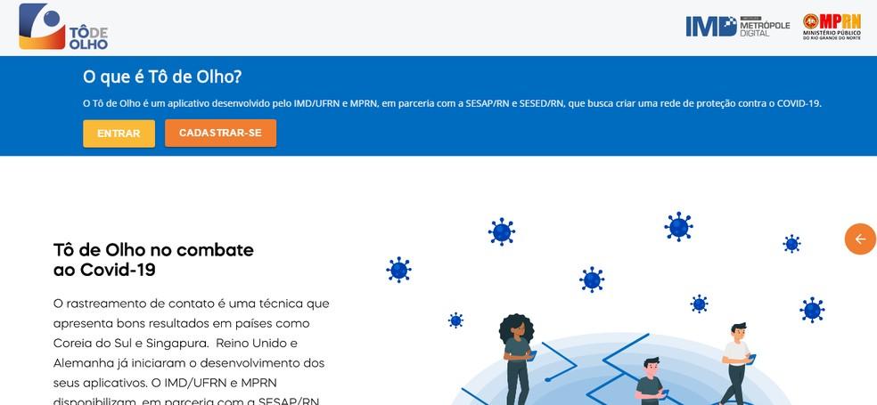 Tô de Olho, site criado pelo IMD e pelo MPRN — Foto: Divulgação