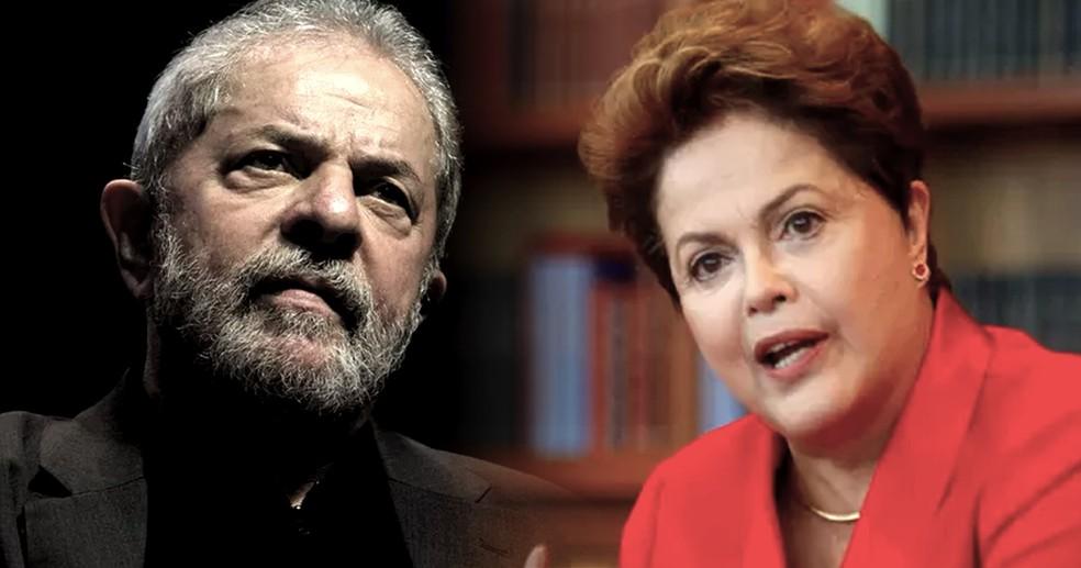Os ex-presidentes Luiz Inácio Lula da Silva e Dilma Rousseff — Foto: Reprodução/TV Globo e André Coelho/Agência O Globo