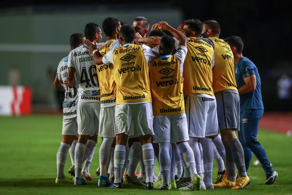 Grêmio comemora vitória sobre o Bahia — Foto: Lucas Uebel/Grêmio