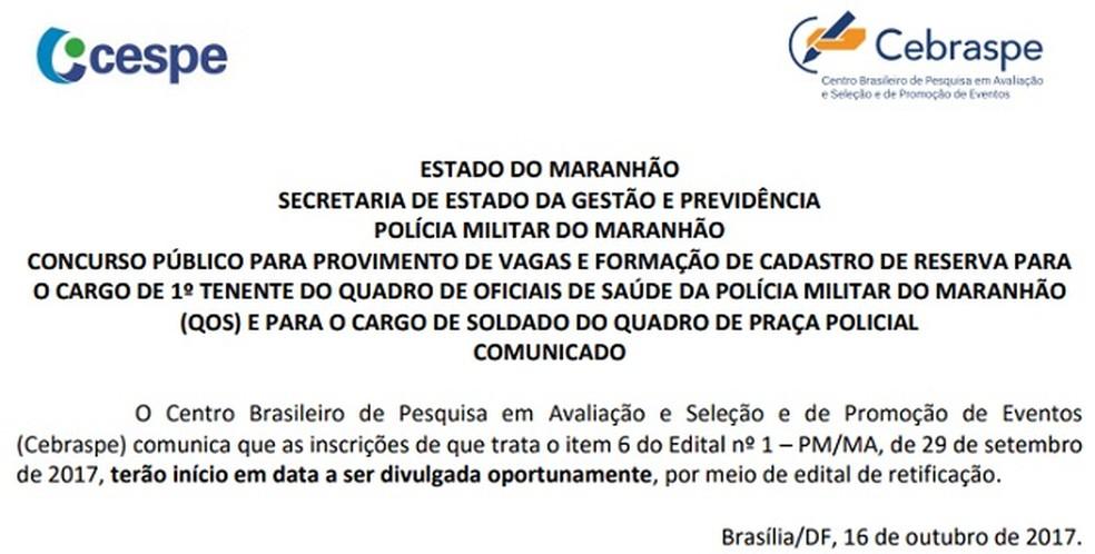 Empresa responsável pela realização das provas publica nota sobre o cancelamento das provas. (Foto: Reprodução/Cebraspe)