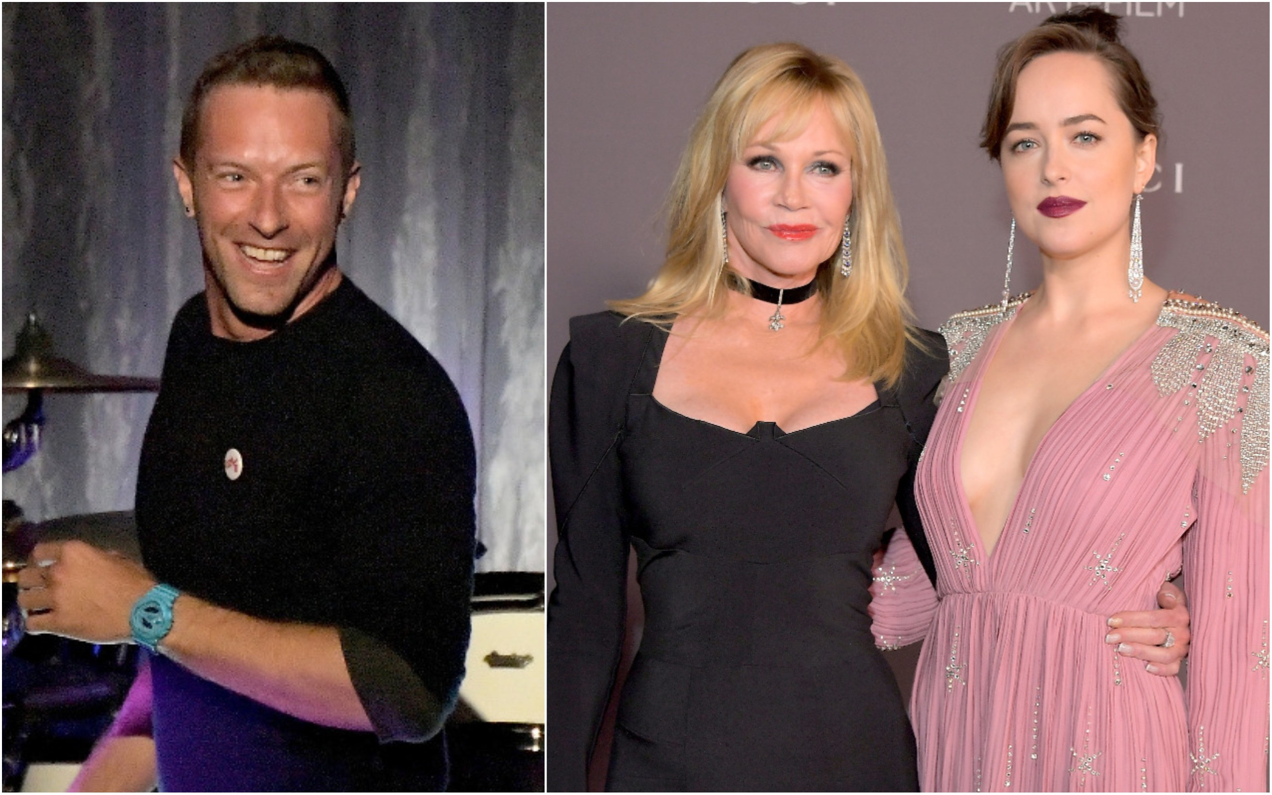Chris Martin, Melanie Griffith e Dakota Johnson (Foto: Getty Images)