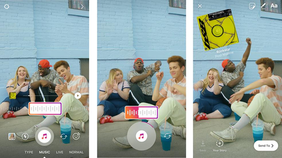 """Modo """"Música"""" permite escolher trilha para vídeos do Instagram Stories (Foto: Divulgação/Instagram)"""
