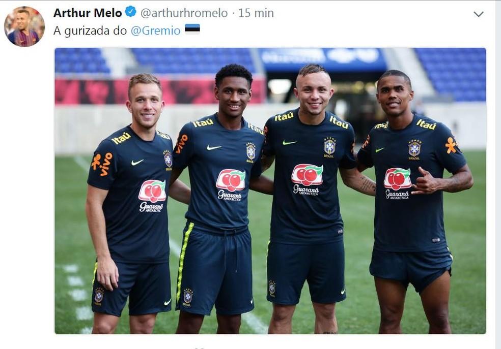 """Arthur divulga a """"gurizada do Grêmio"""" nas redes sociais (Foto: Reprodução)"""
