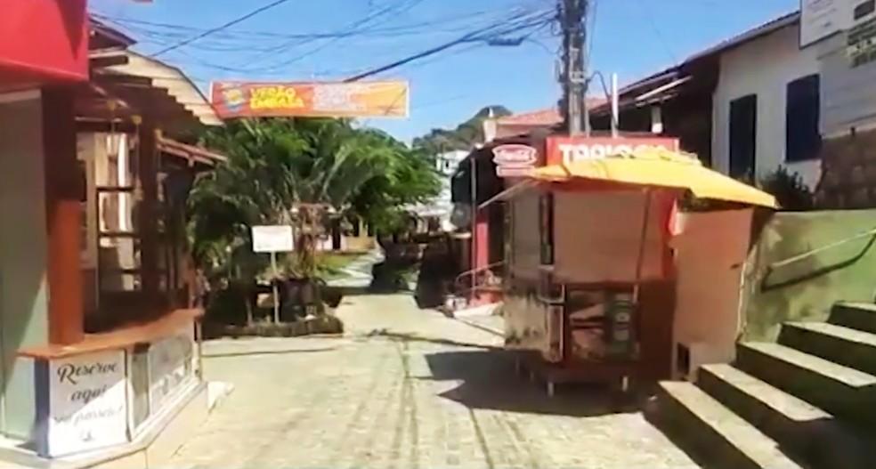 Ruas vazias em Morro de São Paulo — Foto: Reprodução/TV Bahia