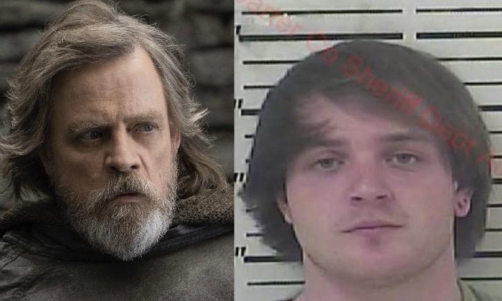 O ator Mark Hamill como Luke Skywalker e o jovem preso que tem o nome Luke Sky Walker (Foto: Reprodução/Divulgação)