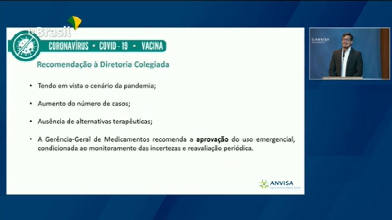 VÍDEO: Gerência-Geral de Medicamentos da Anvisa recomenda a aprovação do uso emergencial da CoronaVac