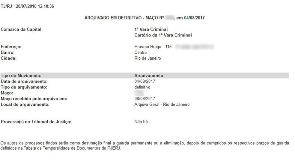 Documento mostra arquivamento de processo de Dr. Bumbum e da mãe dele, Maria de Fátima (Foto: Reprodução)