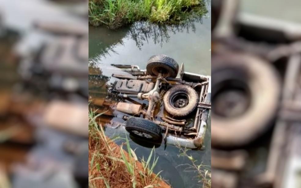 Quatro pessoas são achadas mortas dentro de caminhonete parcialmente submersa em córrego de Fazenda Nova Goiás â?? Foto: TV Anhanguera/Reprodução