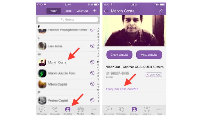 Bloqueando um contato no Viber (Foto: Reprodução/Marvin Costa)