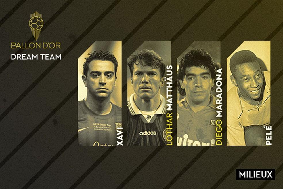 Xavi, Matthäus, Maradona e Pelé formam o meio-campo do Dream Team Bola de Ouro da revista France Football — Foto: Reprodução de Twitter