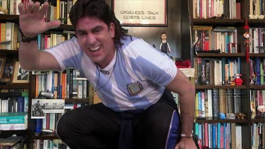 Soy Loco por Copa América: torcedor argentino de Adnet invade o Redação no escritório de Ariel Palacios