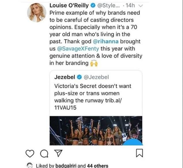 O post curtido por Rihanna com a crítica contra o estilista  (Foto: Instagram)