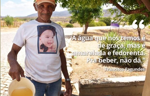 Francisco Fagundes mostra a água amarelada que é servida no chafariz da cidade (Foto: Anderson Barbosa e Fred Carvalho/G1) (Foto: Anderson Barbosa e Fred Carvalho/G1)