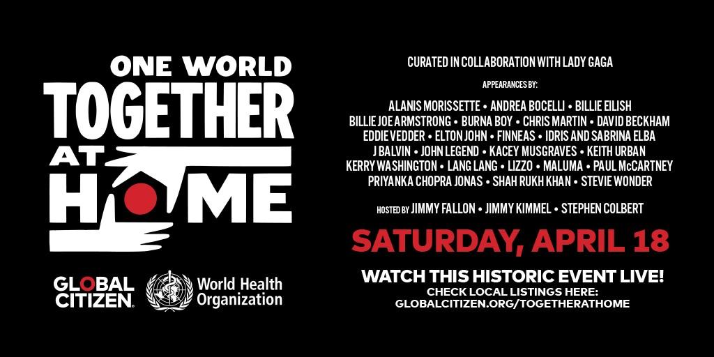 Com curadoria de Lady Gaga, OMS organiza uma série de shows virtuais para arrecadar fundos para combater a covid-19