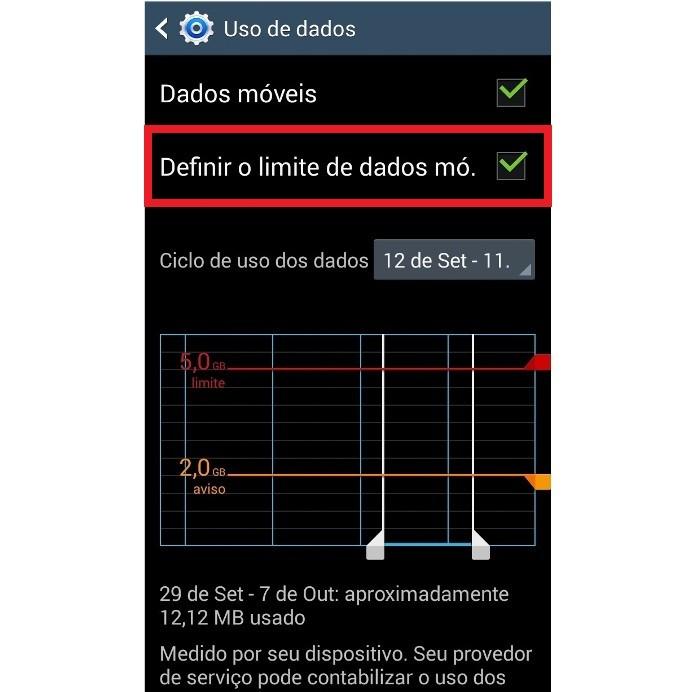 Informações sobre limite de dados no Android (Foto: Reprodução/Lívia Dâmaso)