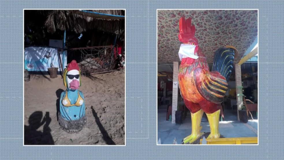Esculturas ganham máscaras em Porto de Galinhas — Foto: Reprodução/TV Globo