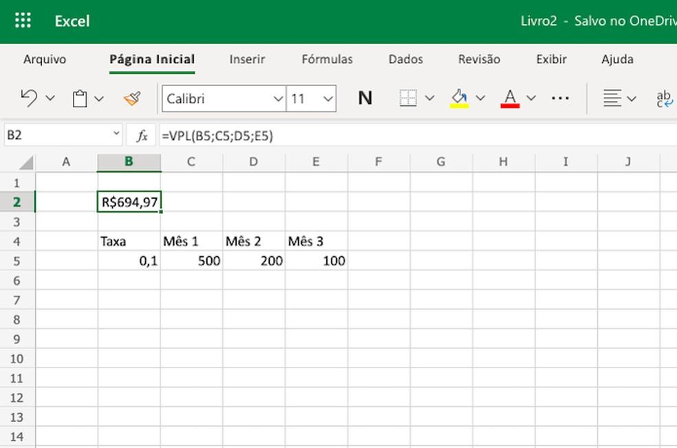 Excel tem fórmula para cálculo do VPL — Foto: Reprodução/Helito Beggiora