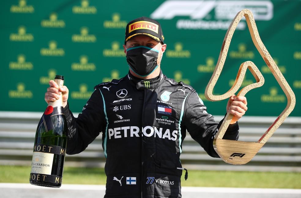 Valtteri Bottas comemora vitória no GP da Áustria de 2020 — Foto: Getty Images
