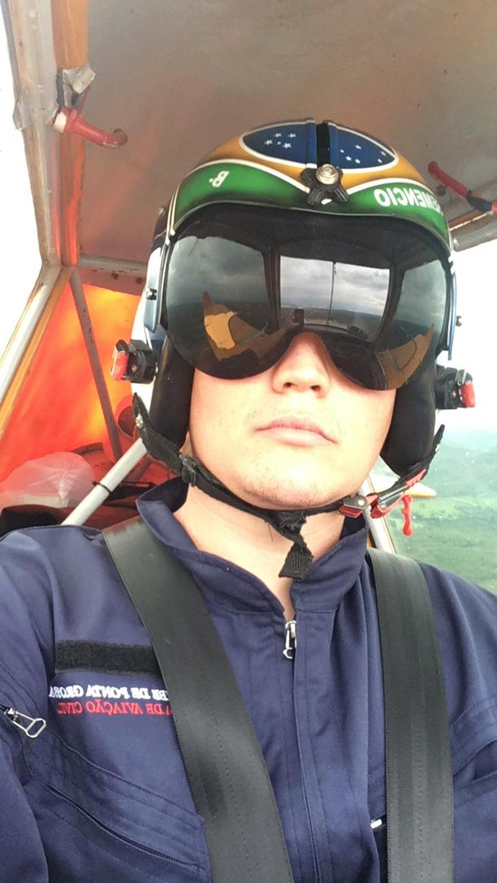 Última foto que o piloto Maicon Semencio Esteves mandou para a família antes do acidente — Foto: Arquivo pessoal