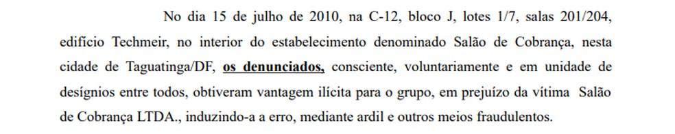 Trecho da denúncia contra Luis Miranda — Foto: Reprodução