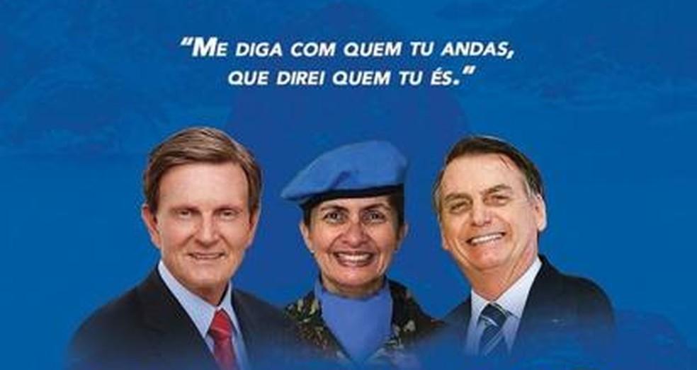 Candidata a vice-prefeita do Rio, Andréa Firmo aparece em material de campanha de farda entre Crivella e Bolsonaro — Foto: Reprodução