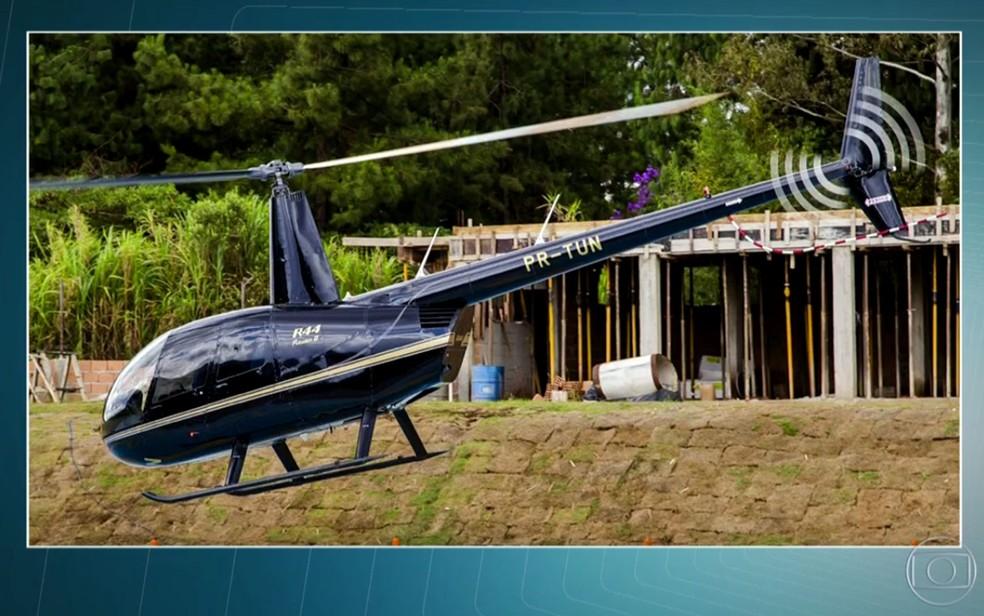O helicóptero Robinson R44 Raven II que caiu em São Lourenço da Serra (Foto: TV Globo/Divulgação)