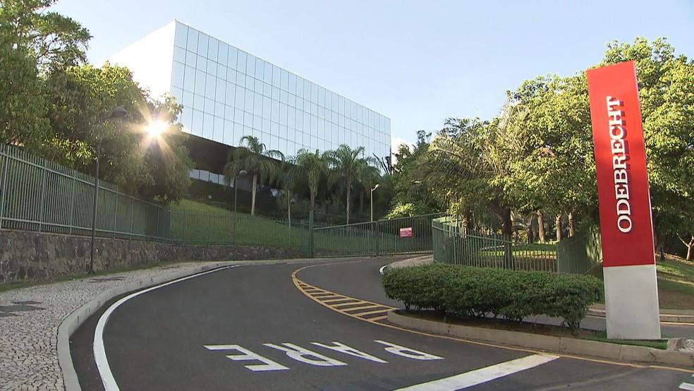 Sede da Odebrecht, em Salvador (BA) (Foto: Bom Dia Brasil)