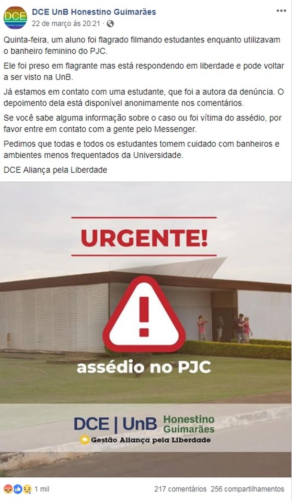 DCE publicou no Facebook alerta sobre prisão do aluno que filmou universitárias usando banheiro — Foto: Facebook/Reprodução