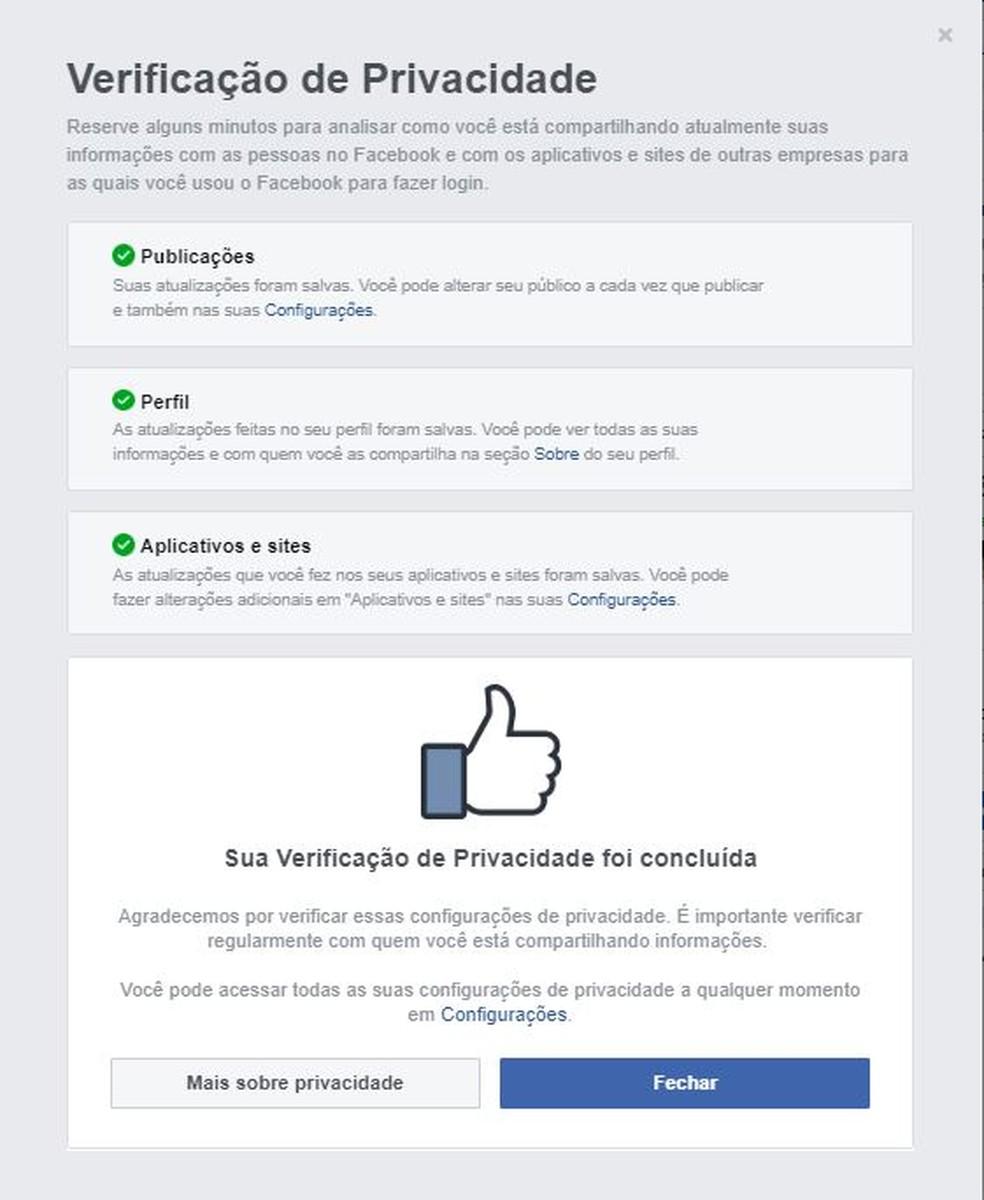 Facebook avisa quando você finaliza a verificação de privacidade — Foto: Reprodução