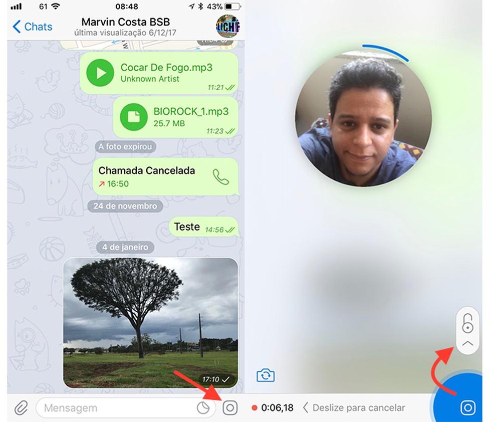 Ação para iniciar uma gravação de vídeo rápida no Telegram (Foto: Reprodução/Marvin Costa)