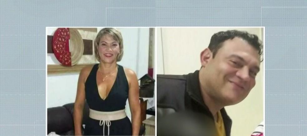 Vítima Maria Aparecida e o foragido Cléder Gonzaga — Foto: Reprodução/TVGlobo