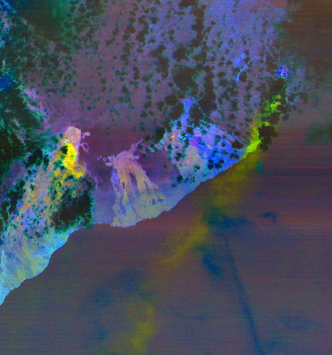 Plumas de dióxido de enxofre são representadas pelas cores amarela e verde. (Foto: NASA/METI/AIST/Japan Space Systems, and U.S./Japan ASTER Science Team)