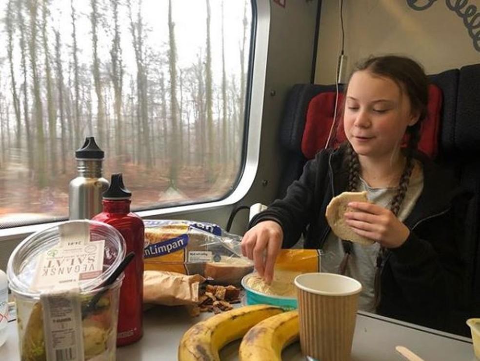Após a adesão de Greta ao movimento climático, a família Thunberg parou de viajar de avião, e faz seus trajetos pela Europa apenas de trem, para não contribuir com a emissão de gases — Foto: Reprodução/Instagram