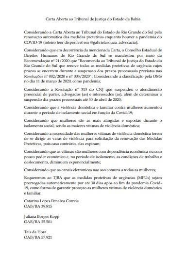 Após pedido de advogadas, TJ-BA concede medidas protetivas por tempo indeterminado para mulheres vítimas de agressões