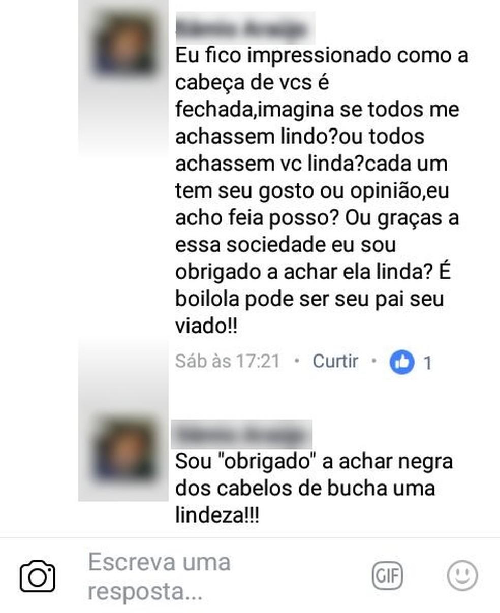 Internauta fez comentários preconceituosos contra a estudante no Facebook  (Foto: Reprodução/Facebook )