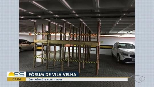 Teto de garagem do Fórum de Vila Velha é sustentado por 30 estacas