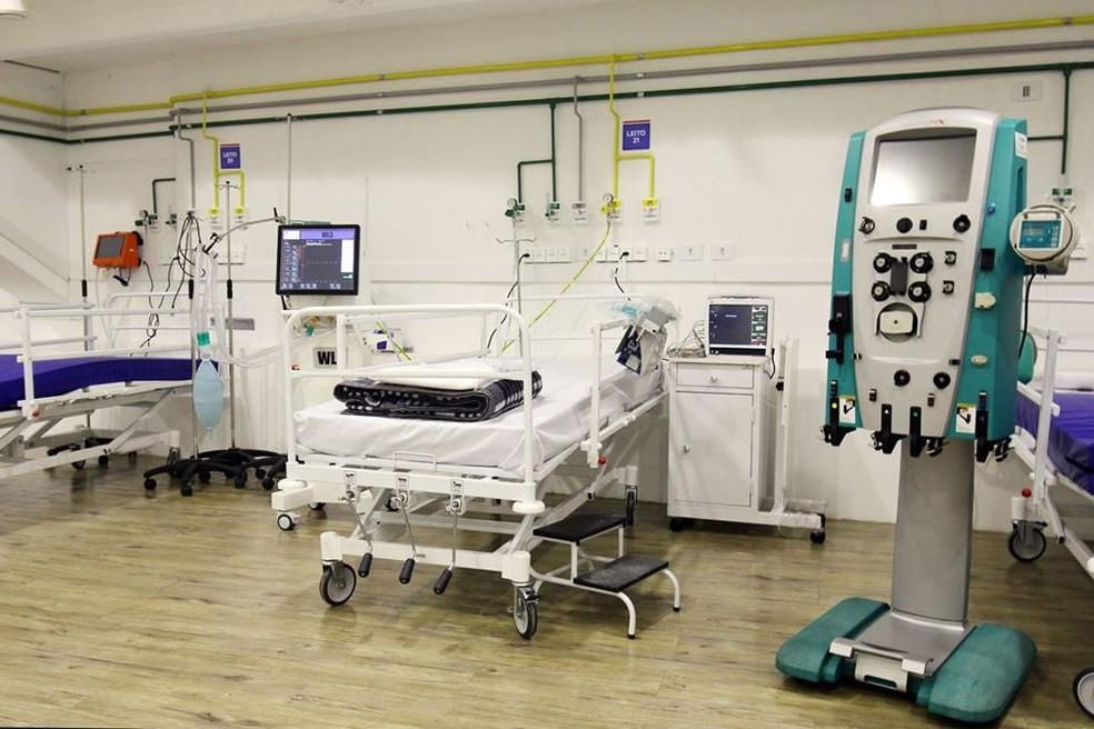 Leito do hospital de campanha da Arena Fonte Nova — Foto: Divulgação / Sesab