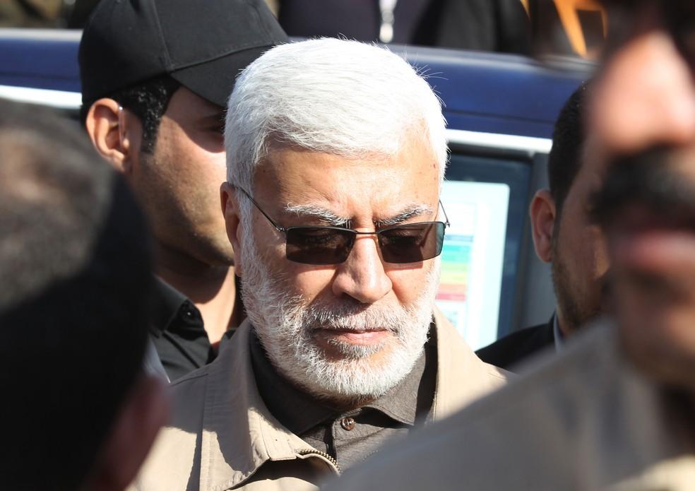 Abu Mahdi al-Muhandis, comandante das Forças de Mobilização Popular, em imagem de 31 de dezembro de 2019 — Foto:  Ahmad Al-Rubaye / AFP